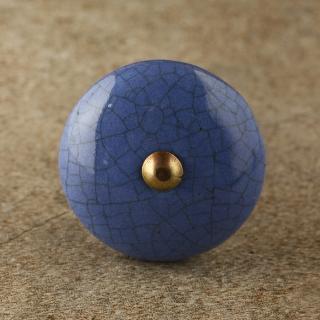 BPCK-194 Blue Ceramic Cabinet Knob-Antique Brass