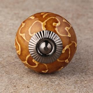 BPCK-244 Brown Ceramic knob-Antique Silver