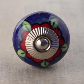 BPCK-252 Red flower Blue base ceramic knob-Silver