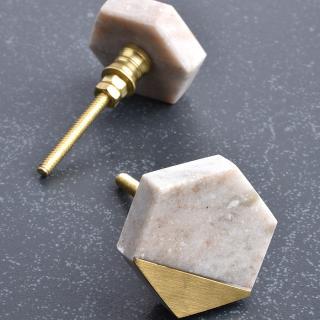 Hexa Shape White Stone Cabinet Knob-1