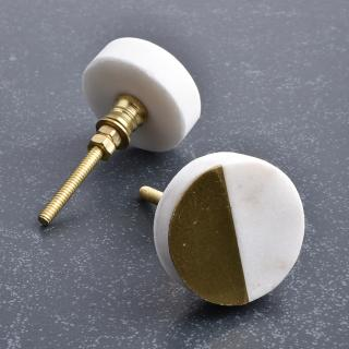Round Shape White And Brass Stone Cabinet Knob- 1