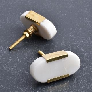 White Agate Stone Cabinet Knob With brass Cover-1