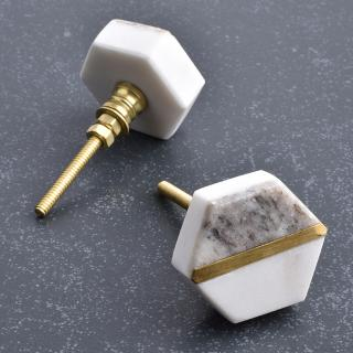 Hexa Shape White And Grey Agate Stone Cabinet Knob-1