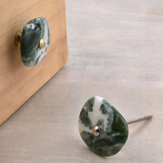 Agate Natural Gemstone Green, White Shade Cabinet Furniture Knobs