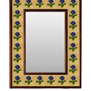 Yellow Embossed Tile Mirror with Blue Flowers 12x16 inch