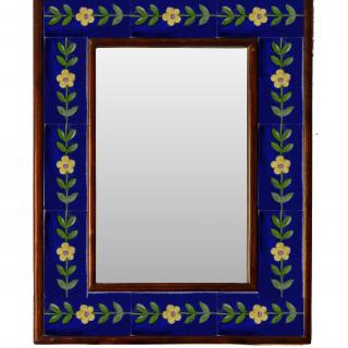 """WHITE AND BLUE EMBOSSED TILE MIRROR 12"""" X 16"""""""