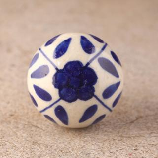 KPS-4691  Blue Floral White Ceramic Cabinet Knob