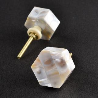 Handcrafted Cream and White Color Bone Knob