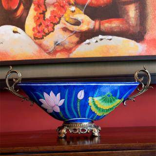 Table Decoretive Piece - Handmade and Hand Painted Blue Pottery
