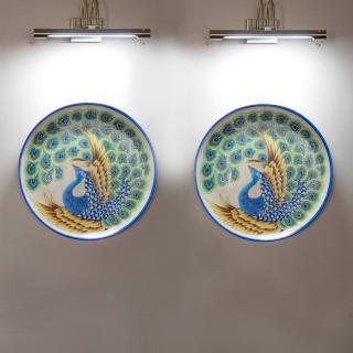 Hand Painted Handmade Blue Pottery Peacock Design Wall Hanging Decorative Plate