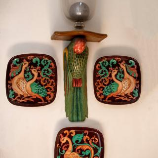 Series of 3 Hand Painted Wall Plates, Decorative Plates, Wall Hanging Plates