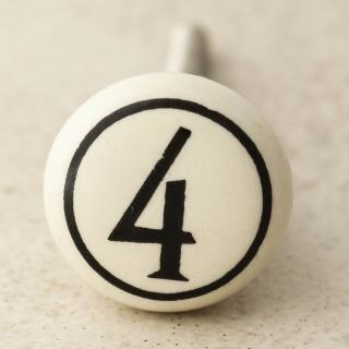 NKPS-011 Cream Color 4 Numbering Cabinet knob