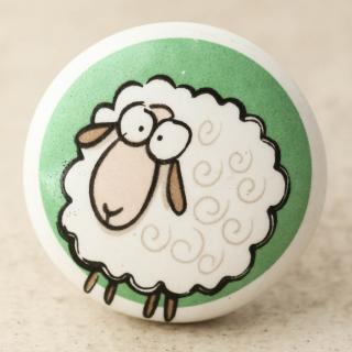NKPS-022 Sheep Printed on Ceramic knob