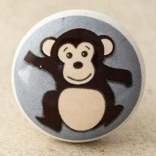 NKPS-027 black Monkey and Turquoise base with White Ceramic knob