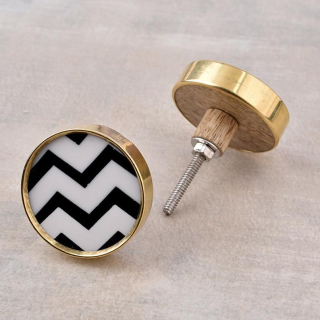 Round Black and White Zig Zag Wood Drawer Knobs