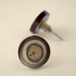 Round Resin and Dark Brown Cabinet Drawer Knob