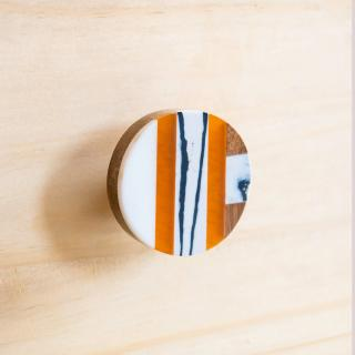 Round Orange and White Cabinet Hardware, Modern Furniture Knob, Vintage Knob, Hollywood and Regency Style knob