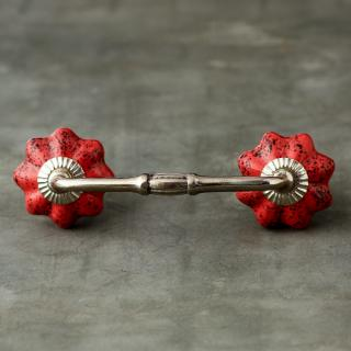 Red Cupboard Cabinet Drawer Pull-Silver