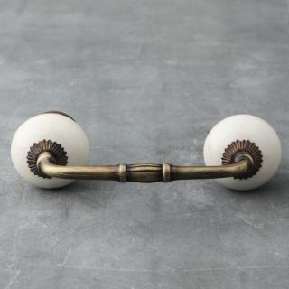 P-BPCK-068-03 Creamy  Ceramic Cabinet Handle Pull-Antique Brass