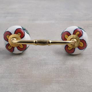 Red and yellow Flower and Green leaf with White Base Ceramic knob