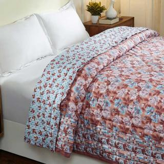 Italian Rose Blue and Brown Hand Screen Print Cotton Quilt