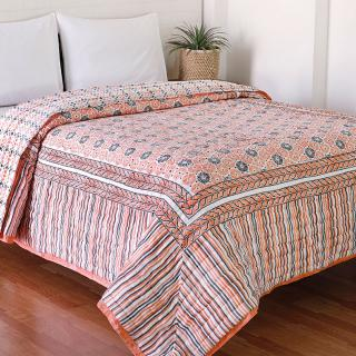 Mecedona Peach and Grey Hand Block Print Cotton Quilt
