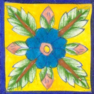 Flower Design on Blue Bordered Yellow base tile