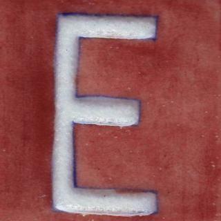 BPAT-002-White E Alphabet Brown Base Tile (2x2)