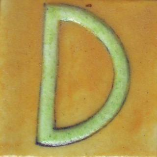 BPAT-007-Lime Green D Alphabet Yellow Tile (2x2)