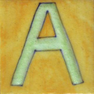 BPAT-008-Lime Green A Alphabet Yellow Tile (2x2)