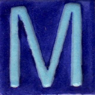 BPAT-017-Turquoise M Alphabet Blue Base Tile (2x2)