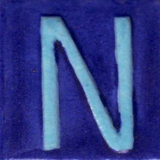 BPAT-019-Turquoise N Alphabet Blue Base Tile (2x2)