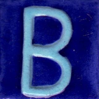 BPAT-020-Turquoise B Alphabet Blue Tile