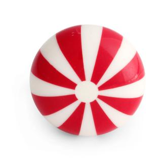 Red Lines Design On White Base Bone Knob