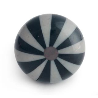 Gray and Black Line Design Bone Knob