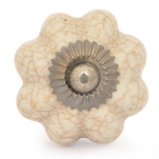 BPCK-182-Cracked Cream Ceramic Cabinet Knob