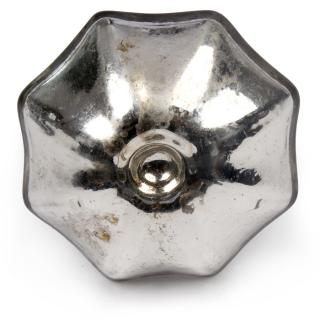 Silver Antique Metallic Glass Cabinet Knob