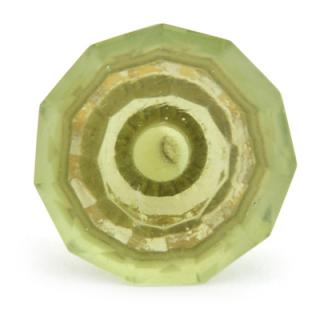 BPGK-87-Green Glass Diamond-Cut Mushroom Knob (Medium)