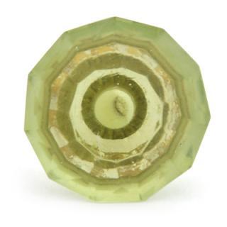 BPGK-87-Green Glass Diamond-Cut Mushroom Knob (Medium)