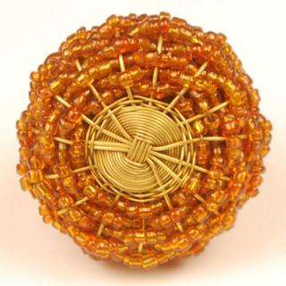 Metal Wire with Orange Glass Beading Cabinet Knobs BPMK-001