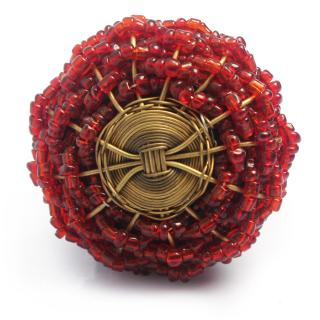 Red Glass Beads and Golden Metal Wire Weaved Cabinet Knob (Medium)