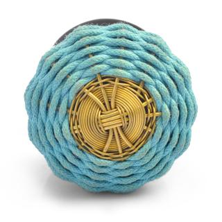 Turquoise Fabric and Metal Wire Weaved Knob (LARGE)
