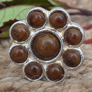 BPMK-035-Nine Half Cut Brown Beaded Knobs
