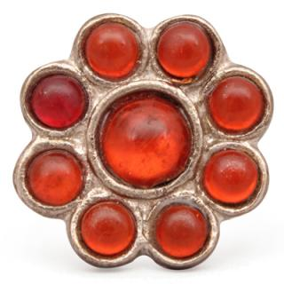 Orange Transparent Nine Half Cut Beaded Knobs