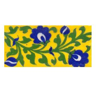 Blue flowers with green leaves on yellow tile (3x6-bpt01)