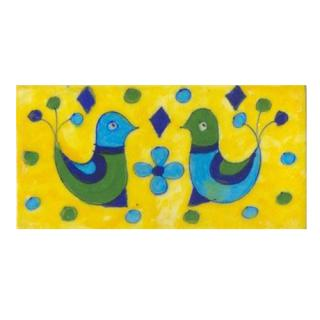 Two birds with flowers on yellow tile (3x6-bpt02)