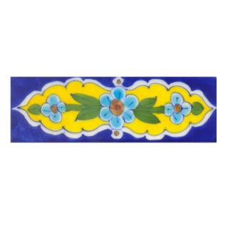 Turquoise,Brown flower Green leaf with Blue base Tile. (2x6)