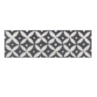 White flower with Black base Tile (2x6)
