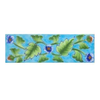 Blue saiding flower and Lime Green leaf with Turquoise base Tile (2x6)