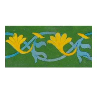 yellow and turquoise design on green tile (3x6)